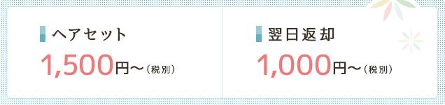 ヘアセット1,500円〜(税別) 翌日返却1,000円〜(税別)